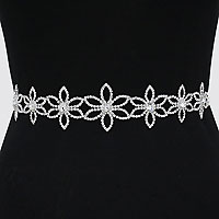 Bridal Wedding Crystal Rhinestone Flower Organza Fabric Belt
