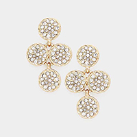 Crystal Rhinestone Pave Disk Cluster Earrings
