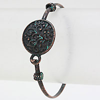 Patina Verdigris Disk Bangle Bracelet