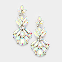 Marquise Floral Crystal Evening Earrings