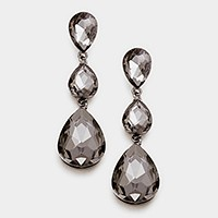 Triple Glass Crystal Teardrop Evening Earrings