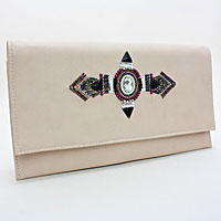 Boho Leather Fold Over Clutch