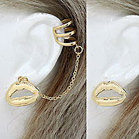 Chained Lips Ear Cuff Set