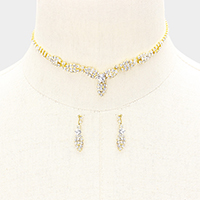 Crystal Rhinestone Pave Leaf Necklace