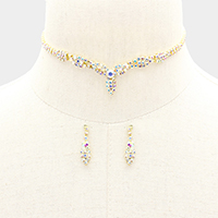 Crystal Rhinestone Pave Petal Accented Choker Necklace