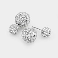 Double Sided Crystal Disco Ball Stud Earrings