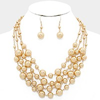 Multi-strand metallic bead necklace