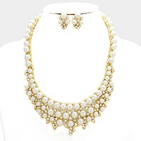 Crystal rhinestone pearl bubble necklace