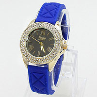 Rhinestone Accented Jelly Band Watch