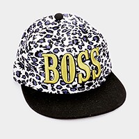 Embroidered boss leopard baseball cap