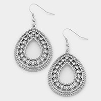 Antique metal cut out teardrop earrings