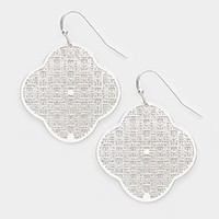 Metal clover mesh earrings