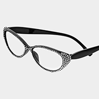 Oval Crystal Pave Reading Glasses