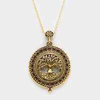Vintage Tree Of Life Magnifying Pendant Necklace