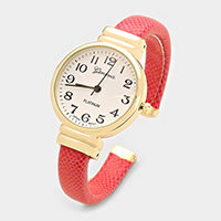 Round Face Faux Leather Cuff Watch