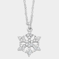 Crystal Snowflake Pendant Necklaces