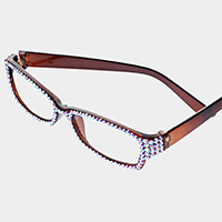 Crystal Pave Rectangular Reading Glasses