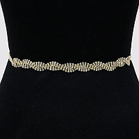 Rhinestone Twist Organza Fabric Belt