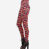Polyester Colorblock Grunge Leggings