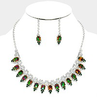 Emerald cut crystal rhinestone necklace
