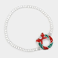 Enamel Christmas wreath stretch bracelet