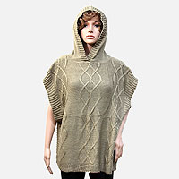 Rippled Acrylic Knit Hooded Poncho