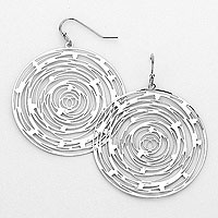 Metal Rose Cut out Disc Drop Earrings
