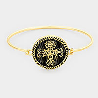 Ornate Floral Cross Bangle Bracelet