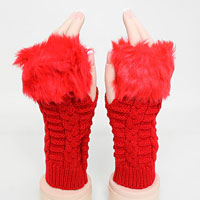 Fingerless Faux Fur Acrylic Gloves
