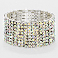 8-Row Crystal Rhinestone Stretchable Bracelet