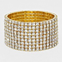 9-Row Crystal Rhinestone Stretchable Bracelet