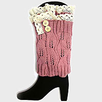 Buttoned Acrylic Leg Warmer/ Boot Topper