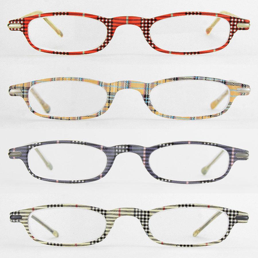 plaid design reading glasses