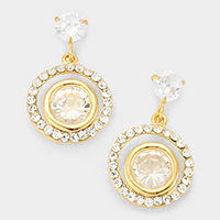 Cubic Zirconia Concentric Earrings