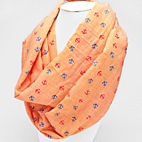 Nautical Anchor Viscose Infinity Scarf