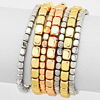 7 PCS - Metal bead stack stretch bracelets