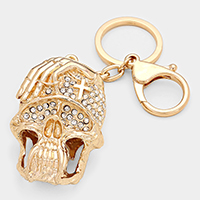 Cross Adorned Skull Keychain