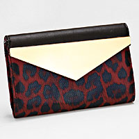 Leopard Pattern Faux Leather Envelope Clutch
