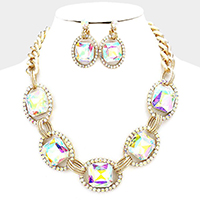 Pave trim glass crystal link necklace