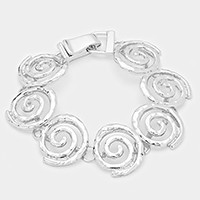Hammered Swirl Metal Magnetic Bracelet
