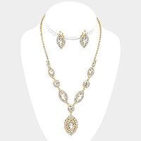 Pave trim marquise rhinestone necklace & Clip Earring Set
