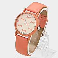 Bow Faux Leather Dial Watch