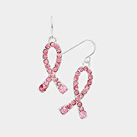 Crystal Pave Pink Ribbon Earrings