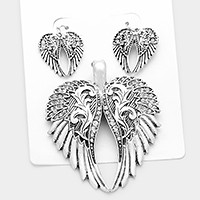 Vintage wings pendant set