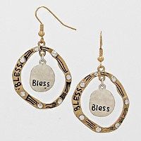 Bless Rhinestone Accented Circle Drop Earrings