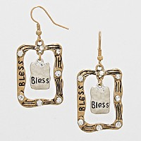 Bless Rhinestone Accented Rectangle Drop Earrings