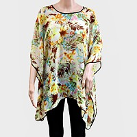 TROPICAL FLORAL PONCHO TUNIC
