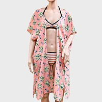 Tropical Palm Pattern Chiffon Cover Up Cardigan