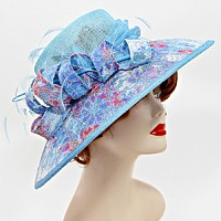 Feathered Flower Sinamay Dressy Hat