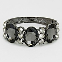 Oval Crystal Hinged Evening Bracelet